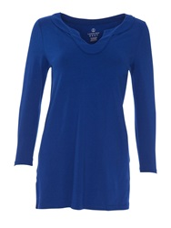 Lands' End Three Quarter Sleeve Notch Neck Tunic Sapphire