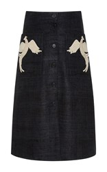 Alena Akhmadullina Bird Embroidered Skirt Black
