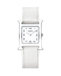 Hermes Heure H Mm Watch With White Leather Strap