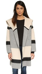 Vince Colorblock Car Coat Ivory Grey