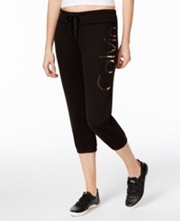 Calvin Klein Performance Molton Logo Cropped Sweatpants Black Rose Gold