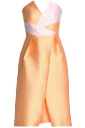 Safiyaa Strapless Pleated Two Tone Duchesse Satin Dress Pastel Orange
