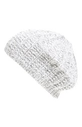 Women's Collection Xiix 'Solid Met Bird's Eye' Beret White Wool White