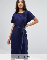 Club L Plisse T Shirt Dress With Waist Tie Navy