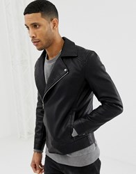 Only And Sons Faux Leather Biker Jacket Black