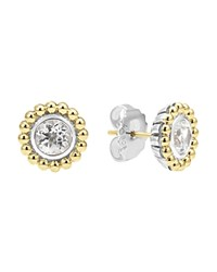 Lagos Sterling Silver And 18K Gold Stud Earrings With White Topaz