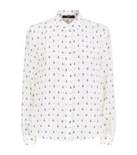 Max Mara Weekend Anchor Print Silk Shirt Female White