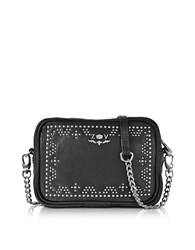Zadig And Voltaire Xs Boxy Boho Leather Crossbody Bag Black
