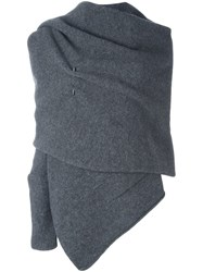 Isabel Benenato Draped One Sleeve Cape Grey