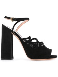 Rochas Chunky Heel Sandals Women Leather Suede 38.5 Black