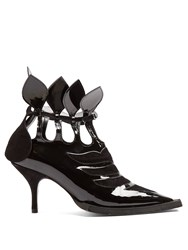 Blue Roses Lydia Cut Out Patent Leather Ankle Boots Black