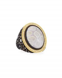 Armenta Old World Cluster Ring W Fossil Coral Mixed Diamonds And Sapphires