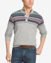 Izod Men's Big And Tall Fair Isle Quarter Button Sweater Light Grey Heather