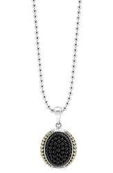 Lagos 'Black Caviar' Oval Pendant Necklace Silver Gold Onyx