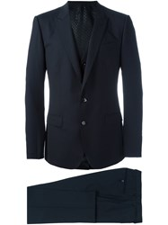 Dolce And Gabbana Three Piece Dinner Suit Blue