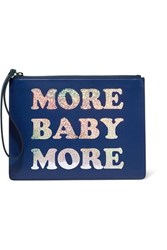 Christopher Kane More Baby More Printed Leather Clutch Blue
