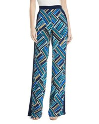 Talitha Collection Painted Print Wide Leg Pull On Pants Blue