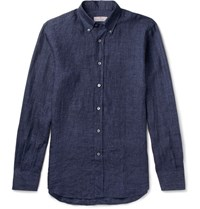 Canali Button Down Collar Linen Shirt Blue