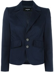 Dsquared2 Cropped Peaked Lapel Blazer Blue