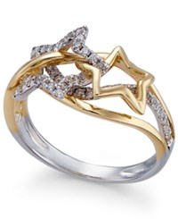 Macy's Diamond Star Ring 1 3 Ct. T.W. In 14K Gold And White Gold Two Tone