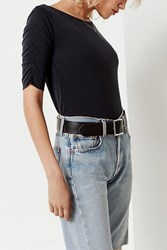 Urban Outfitters Uo Ruched Short Sleeve Tee Black