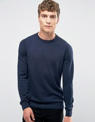 Boss Orange Albinon Crew Jumper Merino Blend Knit Navy
