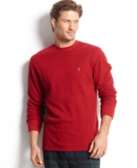 Polo Ralph Lauren Men's Loungewear Big And Tall Long Sleeve Crew Neck Waffle Thermal Top Rl2000 Red