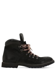Moma Reversed Leather Hiking Boots Black