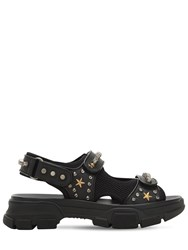 e13d3bc50e8 Gucci Studded Leather And Mesh Sandals Black
