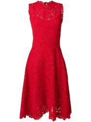 Ermanno Scervino High Neck Lace Dress Silk Acrylic Polyester Wool Red