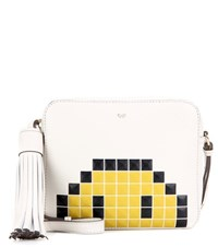 Anya Hindmarch Pixel Smiley Leather Cross Body Bag White