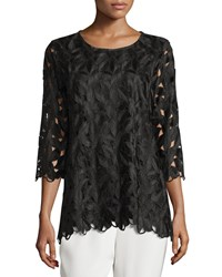 Caroline Rose Half Sleeve Leaf Cut Tunic Top Women's