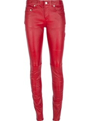Saint Laurent Skinny Leather Trouser Red