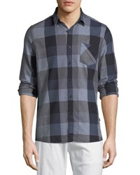 Civil Society Yarn Dyed Plaid Button Front Shirt Blue