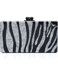 Edie Parker Zebra Pattern Rectangular Clutch Black