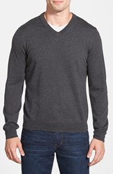 Men's Big And Tall Nordstrom Merino Wool V Neck Sweater Grey Dark Charcoal Heather