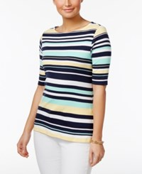 Charter Club Cotton Elbow Sleeve Striped Top Only At Macy's Aqua Gloss Combo