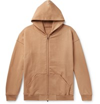 Fear Of God Oversized Loopback Cotton Jersey Zip Up Hoodie Brown