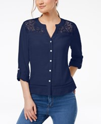 Ny Collection Petite Lace Yoke Button Down Top Eve Chiclily