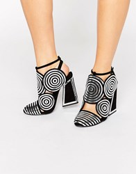 Kat Maconie Frida Black Leather Silver Spiral Heeled Shoes Silver Spiral