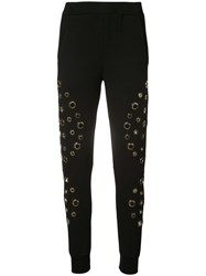 Philipp Plein Stelle Track Pants Women Cotton Spandex Elastane M Black