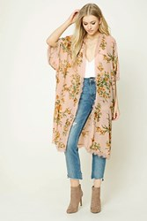 Forever 21 Floral Print Kimono Light Pink Mustard