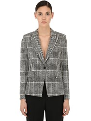 Veronica Beard Rhett Checked Cotton Blend Jacket Grey