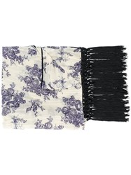Forte Forte Floral Print Fringed Scarf Cotton Silk Nude Neutrals
