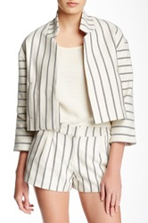 Twelfth St. By Cynthia Vincent Striped And Cropped Jacket White