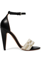 M Missoni Leather And Crochet Knit Sandals Black