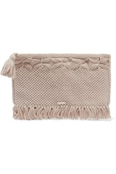 Melissa Odabash Mauritius Crocheted Cotton Clutch Beige