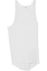 Oak Oversized Asymmetric Cotton Jersey Tank White