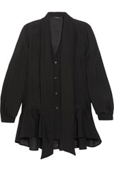 Etro Pussy Bow Ruffled Silk Chiffon Blouse Black