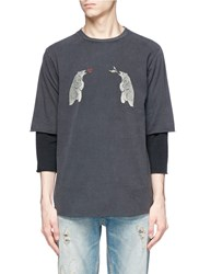 Remi Relief Bear Print Long Sleeve T Shirt Grey
